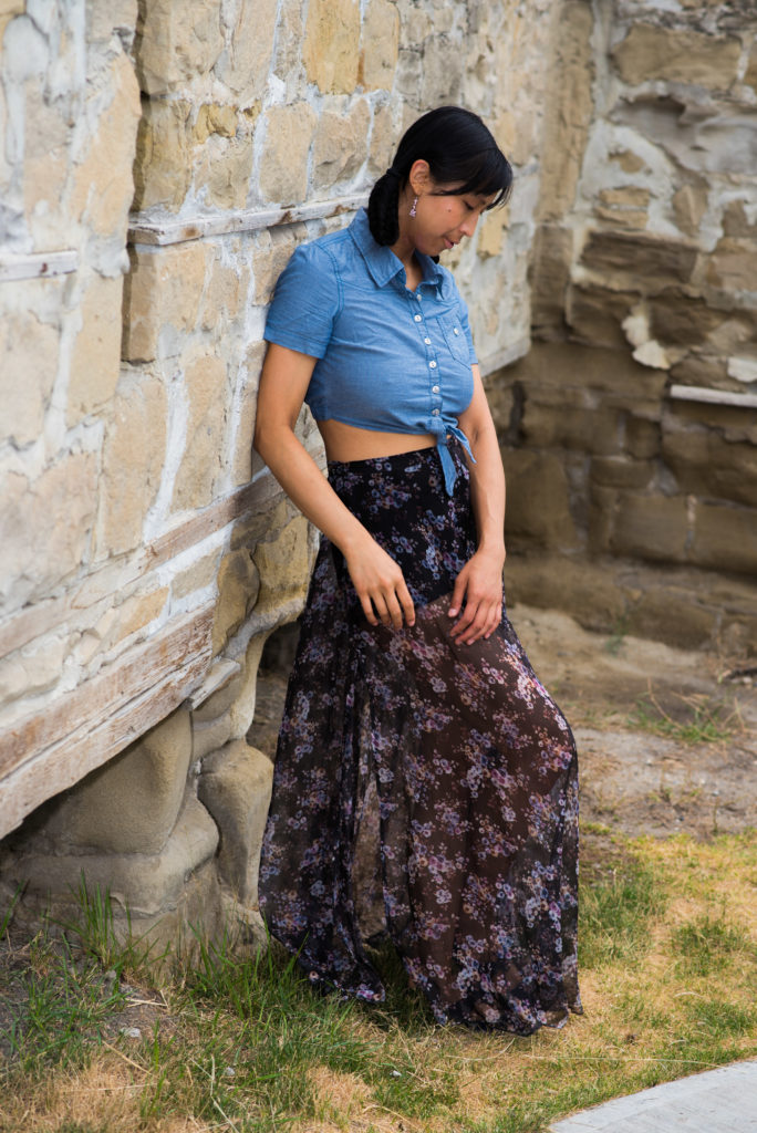 Purple Long Skirt with Attached Shorts and Denim Blue Crop Top