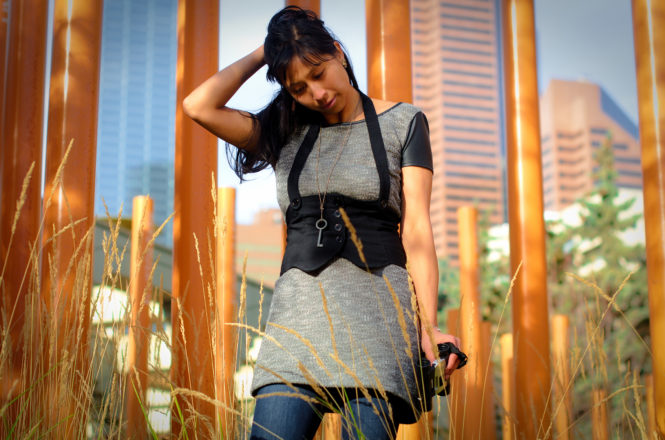 Long Grey Dress and Black Waist Vest with Pants
